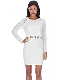 AX Paris Mesh Sleeves with Crochet Detailing Mini Dress