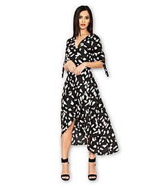 Wrap Around Print Midi Dress