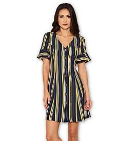 AX Paris Striped Print Button Up Midi Dress