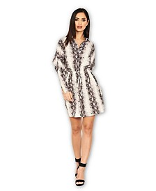 AX Paris Snake Print Bat Wing Dress