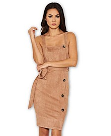 Suede Button Front Belted Dress