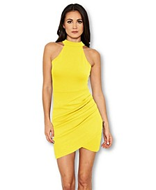 Choker Neck Ruched Detail Bodycon Dress
