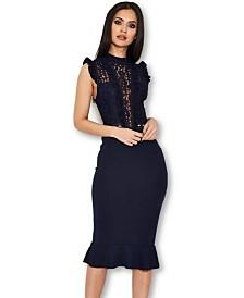 AX Paris Lace Ruffle Hem and Sleeve Dress