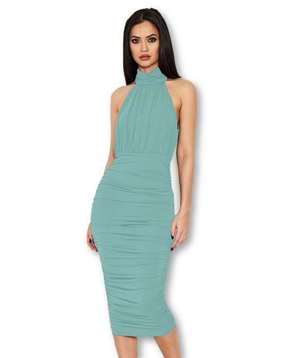 AX Paris Women's High Neck Ruched Bodycon Midi Dress