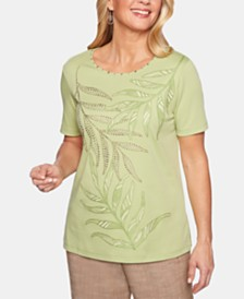 Alfred Dunner Santa Fe Studded Embroidered Top
