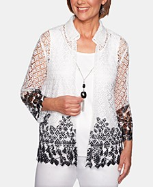 Cayman Islands Layered-Look Lace Necklace Top