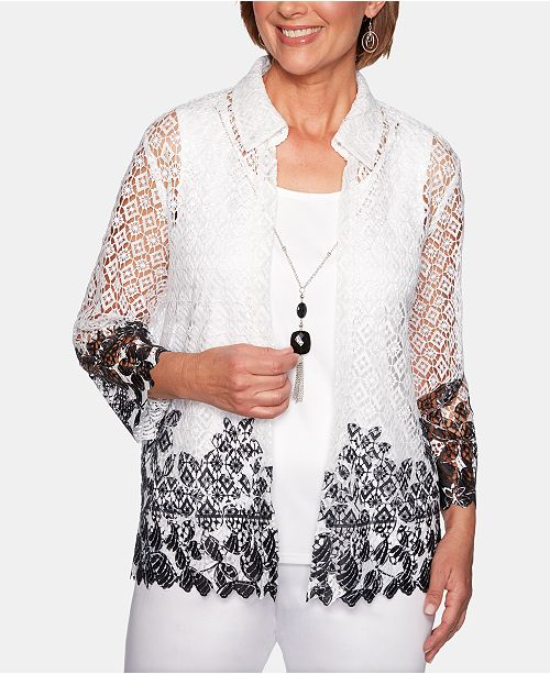 Alfred Dunner Cayman Islands Layered-Look Lace Necklace Top