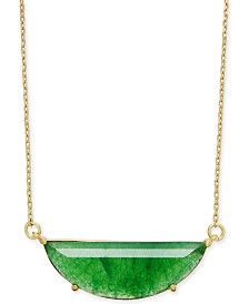 "kate spade new york Gold-Tone Stone Half-Circle Pendant Necklace, 16"" + 3"" extender"
