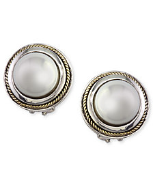 EFFY Cultured Freshwater Pearl Scroll Side Earrings in 18k Gold and Sterling Silver