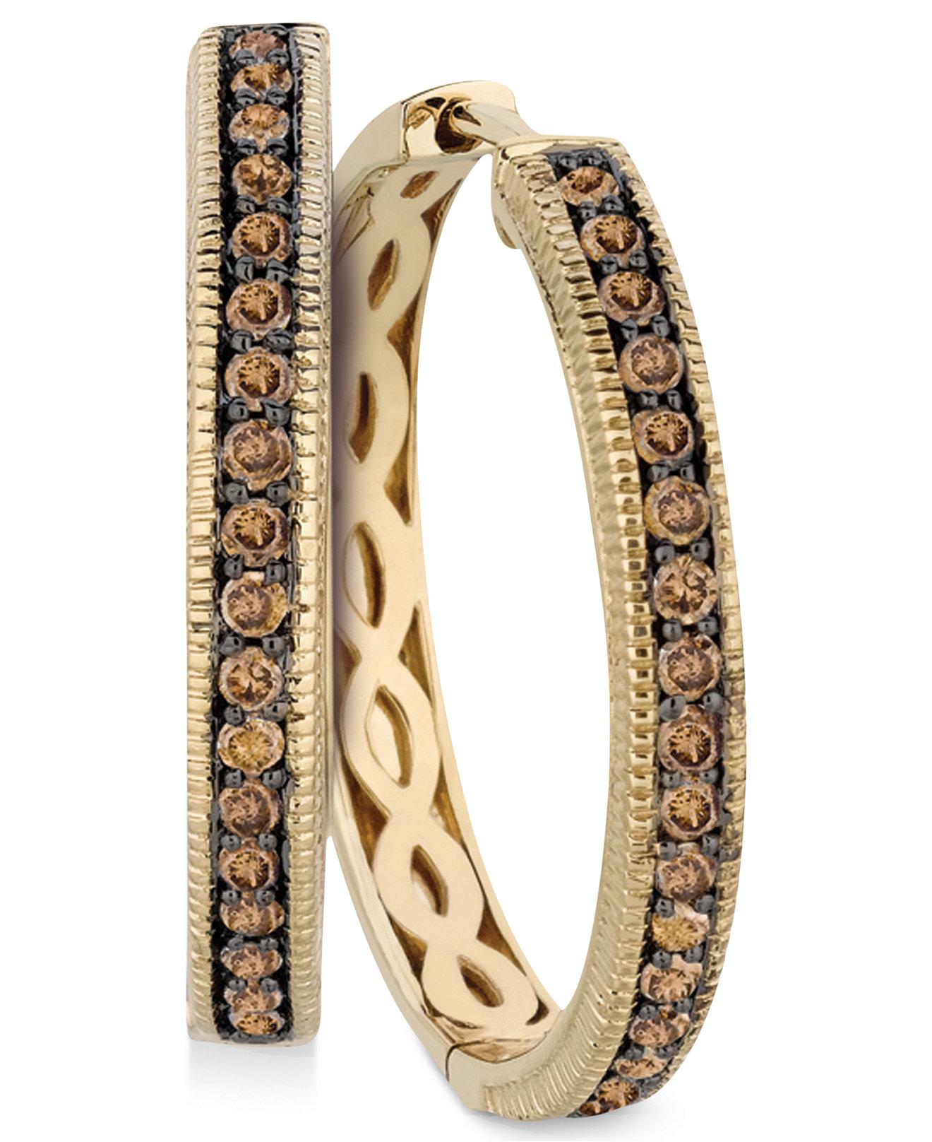 Le Vian Chocolate Diamonds® Hoop Earrings in 14k Gold (5/8 ct ...