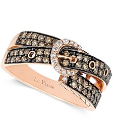 Chocolate (5/8 ct. t.w.) and White Diamond (1/10 ct. t.w.) 2-Row Buckle Ring in 14k Rose Gold
