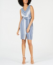 Petite Belted Striped A-Line Dress
