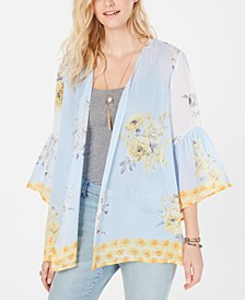 Floral-Print Flutter-Sleeve Kimono, Created for Macy's