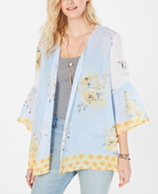 Style & Co Floral-Print Flutter-Sleeve Kimono, Created for Macy's
