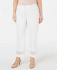 Plus Size Lace-Inset Capri Tummy-Control Pants,  Created For Macy's