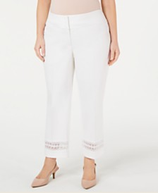 Alfani Plus Size Lace-Inset Capri Pants, Created For Macy's