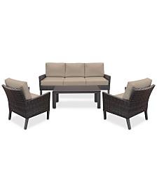 Amari Pepper Outdoor 4-Pc. Seating Set (1 Sofa, 2 Club Chairs & 1 Coffee Table) with Sunbrella® Cushions