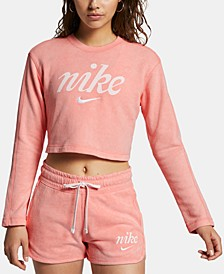 Sportswear Cotton Washed Cropped Sweatshirt