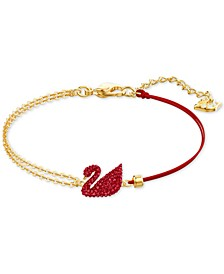Gold-Tone Red Crystal Swan & Half-Chain Bracelet