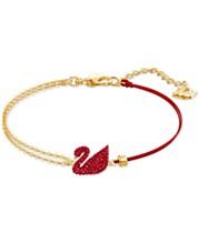43e75d0f9 Swarovski Gold-Tone Red Crystal Swan & Half-Chain Bracelet, Created for  Macy's