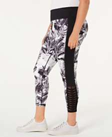 Ideology Plus Size Tropic Shadow Printed Leggings, Created for Macy's