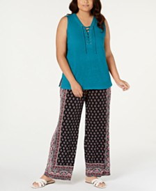 I.N.C. Plus Size Lace-Up Tank Top, Created for Macy's