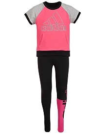 adidas Big Girls Colorblocked Raglan Top & Linear Split Athletic Tights Separates