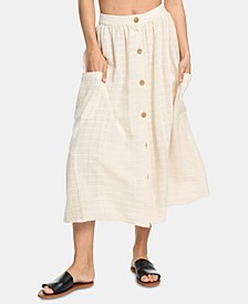 Juniors' Cotton Button Down Midi Skirt