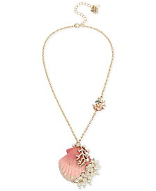 "Betsey Johnson Gold-Tone Imitation Pearl & Crystal Shell Pendant Necklace, 16"" + 3"" extender"