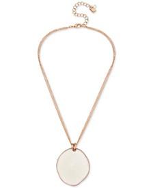 "Gold-Tone Patina Sculptural Disc Pendant Necklace, 17"" + 3"" extender"