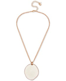"Robert Lee Morris Soho Gold-Tone Patina Sculptural Disc Pendant Necklace, 17"" + 3"" extender"