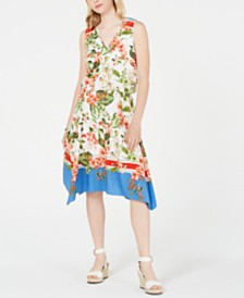 Tommy Hilfiger Printed Handkerchief-Hem Dress, Created for Macy's