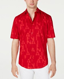 Alfani Men's Letter-Print Shirt, Created for Macy's