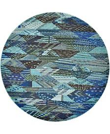 Bridgeport Home Arcata Arc4 Blue 6' x 6' Round Area Rug
