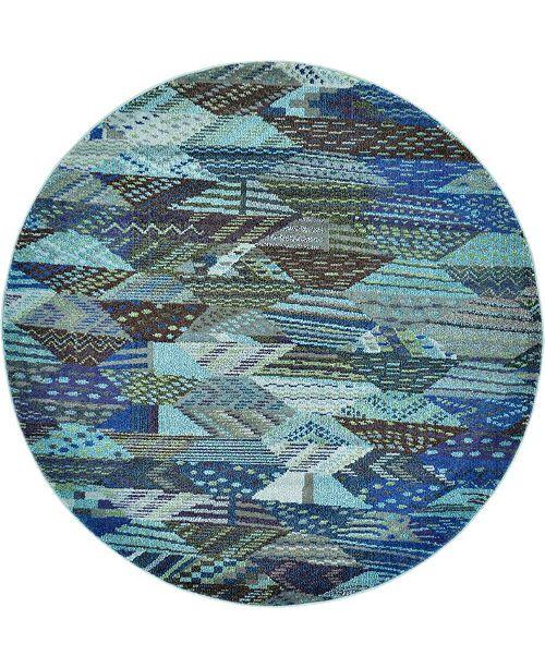Bridgeport Home CLOSEOUT! Arcata Arc4 Blue 6' x 6' Round Area Rug