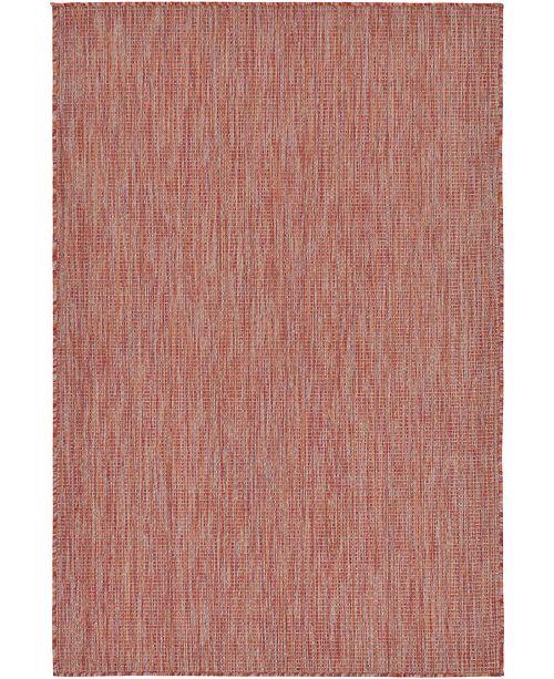 Bridgeport Home Pashio Pas6 Rust Red 4' x 6' Area Rug