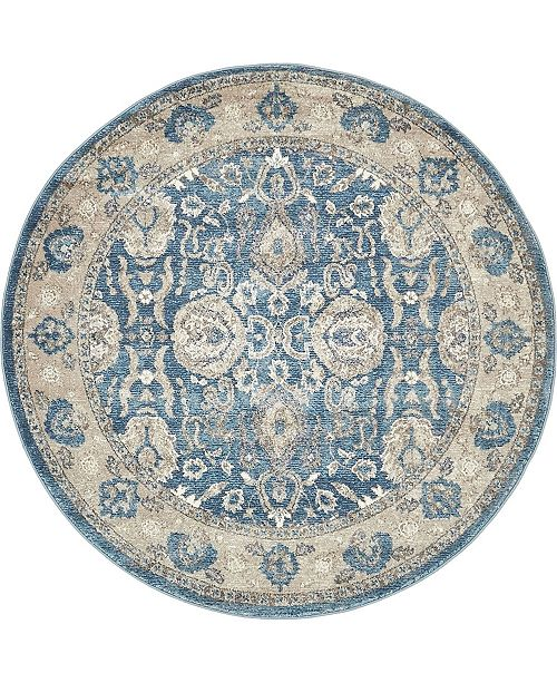 Bridgeport Home Bellmere Bel6 Light Blue 5' x 5' Round Area Rug