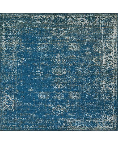Bridgeport Home Basha Bas1 Blue 6' x 6' Square Area Rug