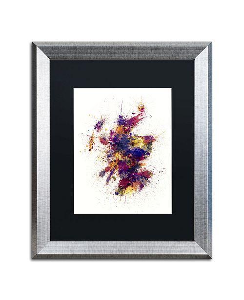 """Trademark Global Michael Tompsett 'Scotland Paint Splashes Map 2' Matted Framed Art - 16"""" x 20"""""""