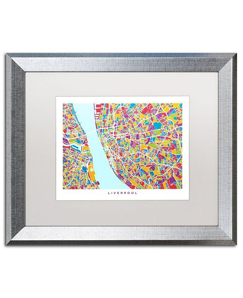 "Trademark Global Michael Tompsett 'Liverpool England Street Map 4' Matted Framed Art - 16"" x 20"""