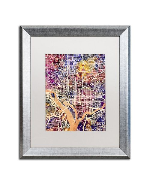 "Trademark Global Michael Tompsett 'Washington DC Street Map 2' Matted Framed Art - 16"" x 20"""