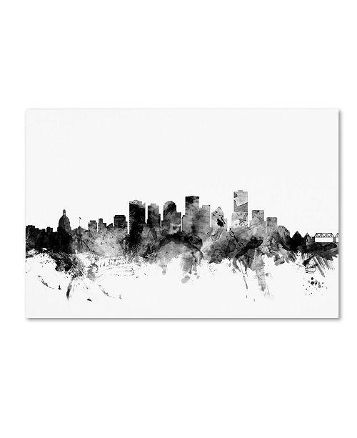 "Trademark Global Michael Tompsett 'Edmonton Canada Skyline B&W' Canvas Art - 16"" x 24"""