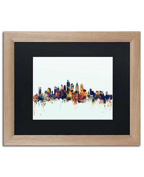 """Trademark Global Michael Tompsett 'Philadelphia PA Skyline Blue' Matted Framed Art - 16"""" x 20"""""""