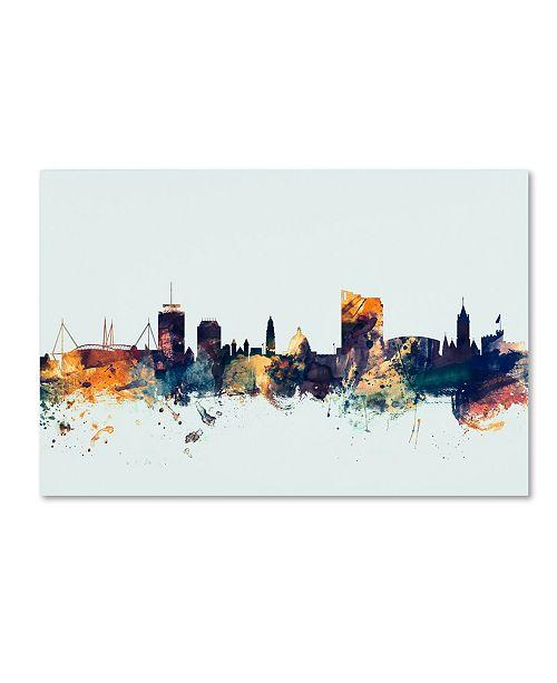 "Trademark Global Michael Tompsett 'Cardiff Wales Skyline Blue' Canvas Art - 16"" x 24"""