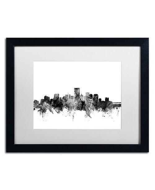 """Trademark Global Michael Tompsett 'Richmond Virginia Skyline B&W' Matted Framed Art - 16"""" x 20"""""""