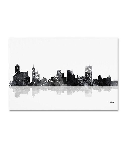 "Trademark Global Marlene Watson 'Memphis Tennessee Skyline BG-1' Canvas Art - 16"" x 24"""