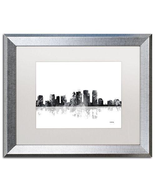 "Trademark Global Marlene Watson 'Tampa Florida Skyline BG-1' Matted Framed Art - 16"" x 20"""