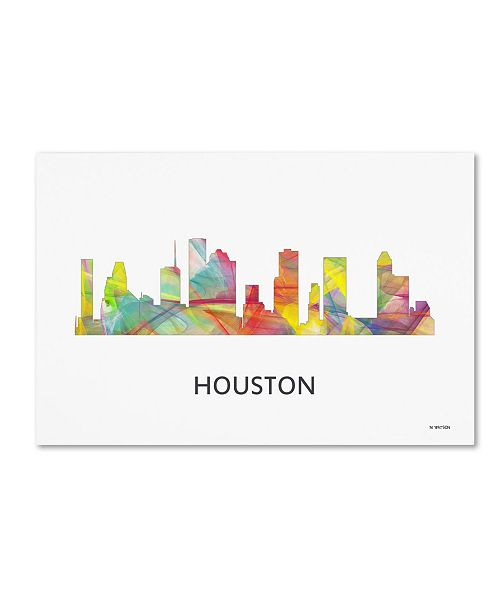 "Trademark Global Marlene Watson 'Houston Texas Skyline WB-1' Canvas Art - 16"" x 24"""
