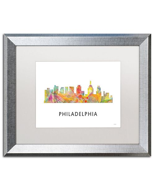 "Trademark Global Marlene Watson 'Philadelphia Skyline WB-1' Matted Framed Art - 16"" x 20"""