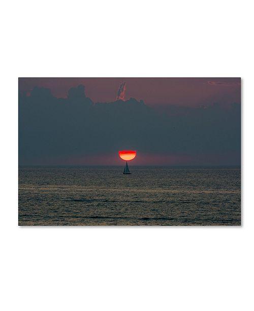 """Trademark Global Kurt Shaffer 'Sunset Sailboat' Canvas Art - 16"""" x 24"""""""